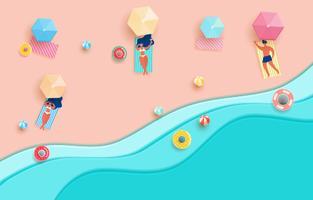 Ondas e praia azuis do papel do mar da vista superior. Garota gostosa e cara na praia tomar sol na temporada de verão