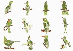 Pacote de vetores de aves verdes