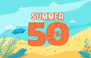 Férias de verão venda bandeira com cena de praia.