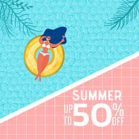 Vista superior da festa na piscina de verão. Projeto quente da propaganda da venda das horas de verão com a menina no anel de borracha na piscina.