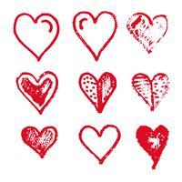 Desenho de ícone de coração desenhado de mão vetor