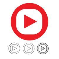 ícone de player de vídeo de botão vetor