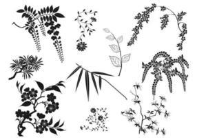 Pacote de vetores de ramos orientais e folhas