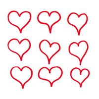 mão desenhar projeto de ícone de corações vetor