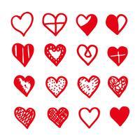 desenho de ícone de coração desenhar de mão vetor
