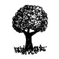 Mão, desenhado, árvore, ícone vetor