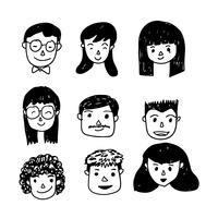 As pessoas enfrentam ícone dos desenhos animados