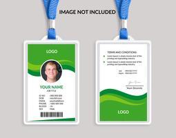 Modelo de cartão de identificação verde incrível vetor