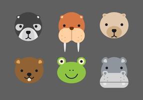 conjunto de rostos de animais vetor