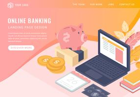 Página de aterrissagem bancária isométrica de vetor on-line