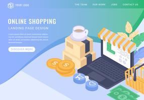 Página de aterragem isométrica de compras on-line de vetor