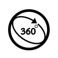 Ícone de 360 graus vetor