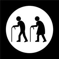 Ícone de pessoas idosas vetor
