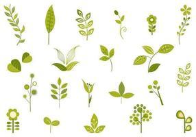 Pacote retro de vetores de folhas