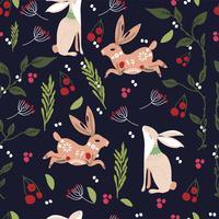 Teste padrão printable da arte popular escandinava com coelhos e flores vetor