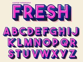Tipografia retro rosa em negrito vetor