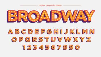 Tipografia de luzes laranja em negrito vetor