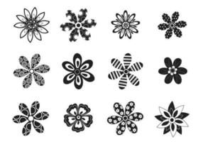 Conjunto de vetores de flor decorativa preto e branco