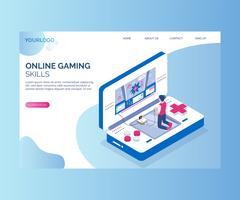 Jogando jogos on-line para o outro conceito de arte -final isométrica