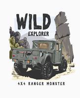 slogan de tipografia com 4 rodas de caminhão na ilustração selvagem vetor