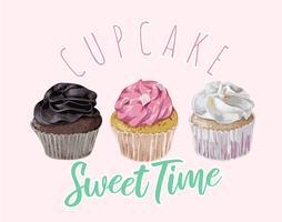 slogan de tempo doce cupcake com ilustração de cupcakes vetor