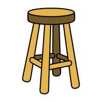 Ilustração de mobília de assento de cadeira de fezes vetor