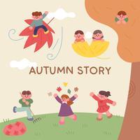 crianças da história do outono.