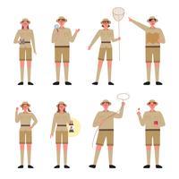 Coleção de personagens de exploradores. vetor