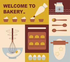 Ilustração de padaria por divisão.