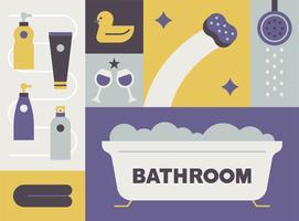 ícones de objeto de banho. vetor