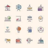 ícones de linha de parque de diversões.