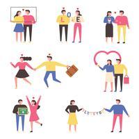 Vários conceitos de casais comemorando aniversários.