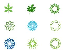 Logotipo de padrões florais de folha e símbolos em um fundo branco