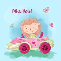 Ilustração dos desenhos animados de um ouriço bonito no carro. Ilustração vetorial