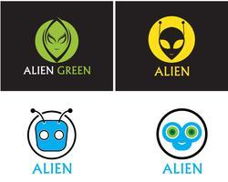 Logotipo de vetor de rosto alienígena ícone e app de modelo de símbolos