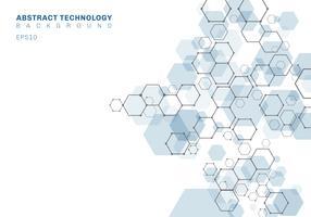 Estrutura molecular sextavada azul abstrata do sistema dos neurônios. Fundo de tecnologia digital. Modelo geométrico futuro.