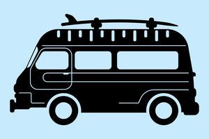 silhueta de ônibus de surf
