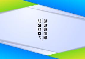 O encabeçamento e os pés de página abstratos do molde azul e triângulos geométricos verdes contrastam o fundo branco com espaço da cópia. Você pode usar para design corporativo, capa brochura, livro, banner web, publicidade, cartaz, folheto, panfleto.