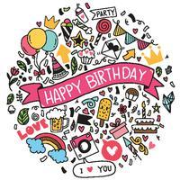 mão desenhada ilustração vetorial feliz aniversário ornamentos à mão livre desenhado fundo doodle ementevent padrão festa