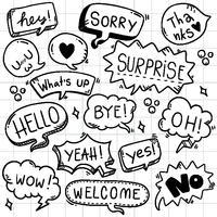 fundo de mão desenhada conjunto de texto de eith de bolha fofo discurso em estilo doodle vetor