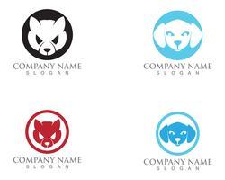 Modelo de logotipo de silhuetas de vetor de gato e cachorro