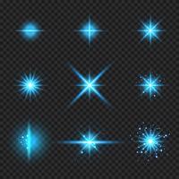 Conjunto de elementos brilhantes raios de explosão de luz azul, estrelas rajadas com brilhos isolados no fundo transparente