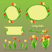 Conjunto de quadros de tulipas de primavera vetor