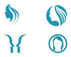 mulher de cabelo e rosto logo e símbolos,