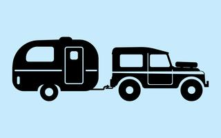 Carro de acampamento de silhueta vetor