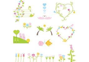 Animal bonito dos desenhos animados e Floral Vector Pack