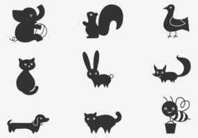 Pacote de vetores para animais de desenhos animados