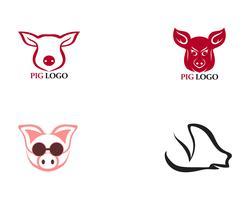 Porco cabeça logotipo animal vetor