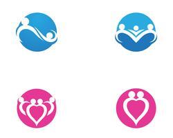 logotipo de cuidados familiares amor e modelo de símbolos