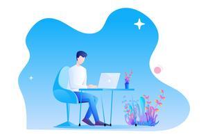 Um homem está trabalhando na mesa com seu laptop. Design moderno personagem plana no fundo branco